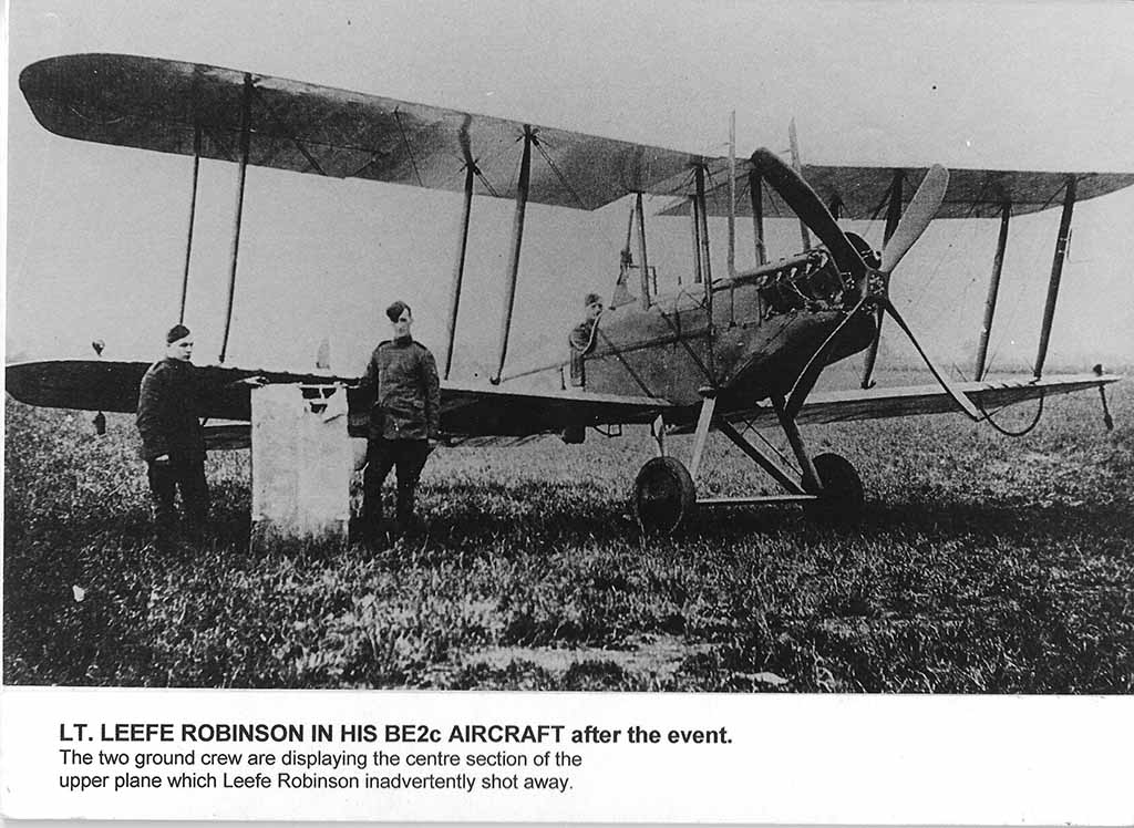 Lt Leefe Robinson with his BE2c Aircaft